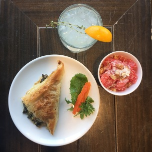 Wilde Thyme Lemonade, Grapefruit Coconut Salad, Spanikopita