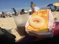 A lemonade and tea blend was being offered on the beach along with these tapioca based rings. The rings didn't have a lot of flavor, but I was amazed at all the ways tapioca and cassava were used in Brazilian cuisine.