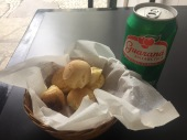 Pao de Queijo, or cheese bread was made with tapioca flour and had a chewy center is a common snack on the go. Guaraná, a tropical fruit that has caffeinated seeds, is used in this local soda (that tastes a lot like Red Bull).