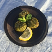 Our Spinach Bulgar Balls, the spring vegetarian option cooked up much like our Summer Falafel and Winter Beet Balls