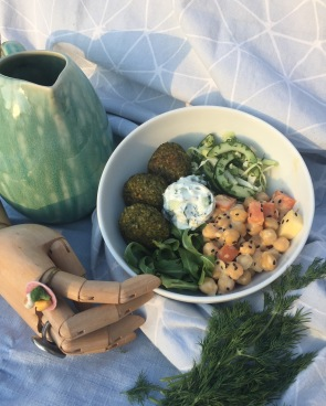 Spring bowl with our Veggie option of Spinach Bulgar Balls